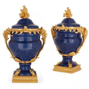 Pair of French ormolu mounted lapis lazuli vases