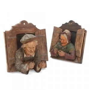 Pair of Austrian antique polychromed terracotta relief busts