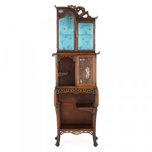 Antique Far Eastern style hardwood vitrine after Viardot