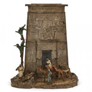 Orientalist cold-painted bronze letterbox by Bergman