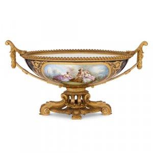 Sèvres style porcelain and ormolu centrepiece bowl