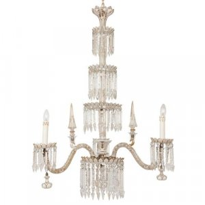 Antique Bohemian cut glass and gilt gasolier chandelier
