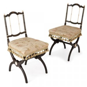 Pair of Victorian period ebonised wood and ivory chairs