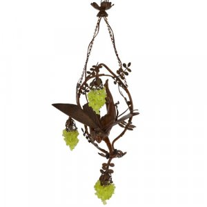 Patinated bronze and tinted glass Art Nouveau chandelier