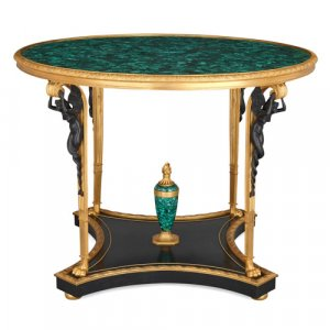 Empire style gilt and patinated bronze mounted malachite table