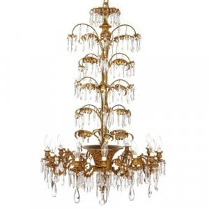 Antique French ormolu and cut glass twelve-light chandelier