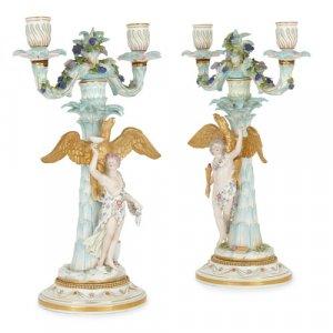 Pair of antique Meissen parcel-gilt porcelain candelabra