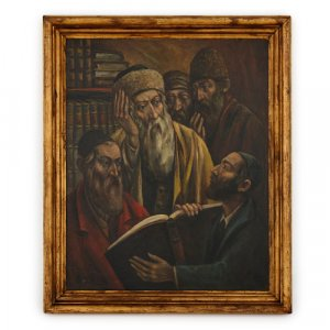 'Studying the Torah', Polish oil painting by Bryks