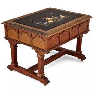 Italian coffee table with inlaid pietra dura tabletop