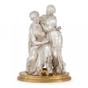 French silvered bronze and ormolu sculpture by F. T. Devaulx