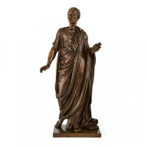 Patinated bronze figure of Roman emperor by Mathurin Moreau