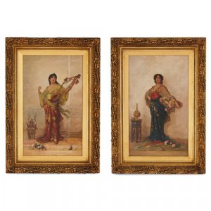 Pair of Orientalist paintings by J.E. Hill