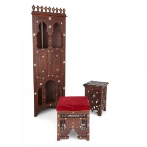 Moorish mother of pearl inlaid hardwood furniture suite