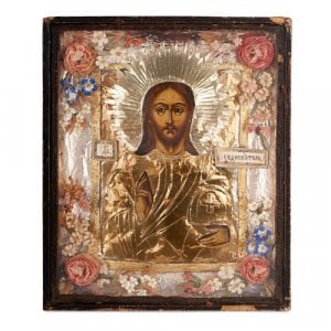 Antique Russian Orthodox Church icon of Christ Pantocrator