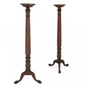 Pair of English Victorian period mahogany torchères