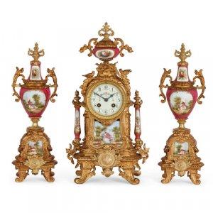 Sèvres style porcelain and gilt metal three-piece clock set