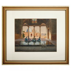 'Kashan, Persia', Orientalist watercolour by MacGregor Wilson