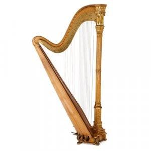 Neo-Gothical parcel gilt antique wooden harp by Erard