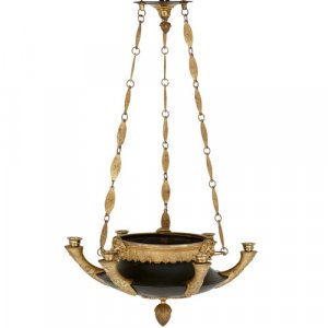 Empire style patinated and gilt bronze six-light chandelier