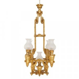 Antique French Empire style ormolu chandelier