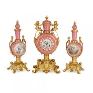 Sèvres style pink porcelain and ormolu three piece clock set