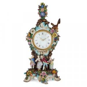 Antique Meissen porcelain mantel clock