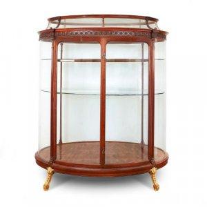 Large ormolu mounted mahogany and parquetry vitrine