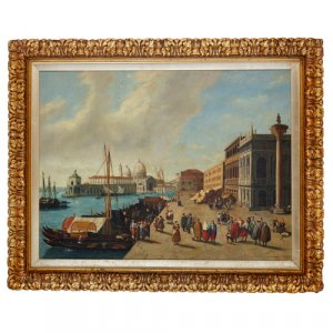 'Along the Riva degli Schiavoni', Italian painting of Venice