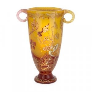 Art Nouveau period twin handled glass vase by Emile Gallé