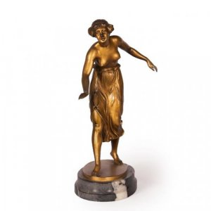 Art Deco period antique ormolu figure of girl by Rochlitz