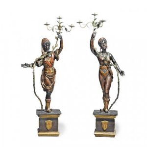 Pair of large antique wooden blackamoor figure candelabra