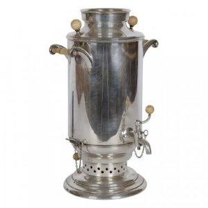 Silver and ivory antique samovar by Rossdeutscher & Reisig