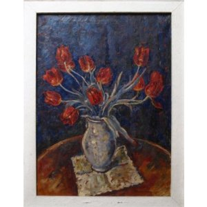 Still life oil painting of red tuilips by Fechenbach