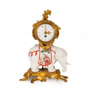 Ormolu and Samson porcelain antique Chinoiserie mantel clock