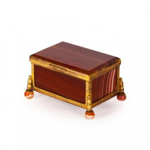 German antique small red agate and ormolu box