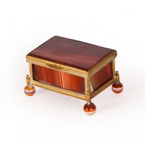 Collectable antique small red agate and ormolu box