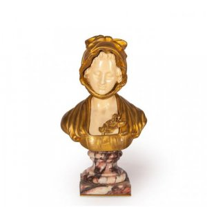Miniature ivory and gilt bronze female bust on a marble base
