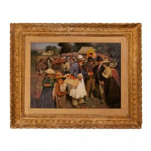 'A Gala Day', antique oil painting after Sir Alfred Munnings