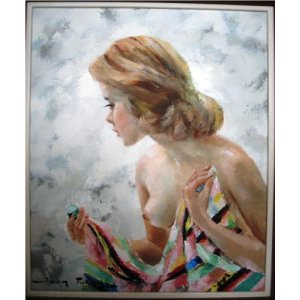 Oil painting of a semi nude young woman by Talwinski