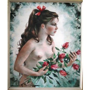 Oil painting of a young woman with roses by Talwinksi