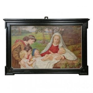 Antique oil painting of the Madonna and Child by Klapper