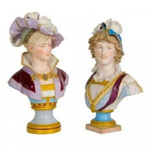 Set of two antique French bisque porcelain busts