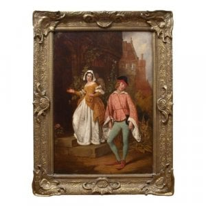 Antique oil painting of a Shakespearian scene by Horsley