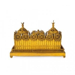 Antique Victorian gilt brass inkstand with Gothic tracery