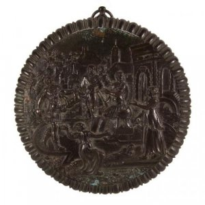 Antique French patinated bronze circular relief plaque