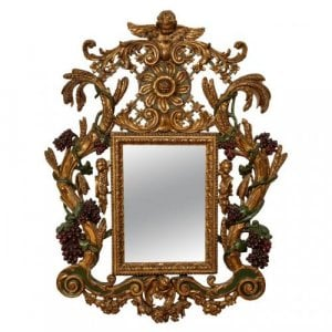 Baroque style carved giltwood and painted antique mirror