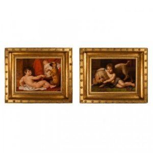Pair of oil on panel antique paintings by A. Dubost