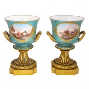 Pair of ormolu and Sevres style porcelain vases
