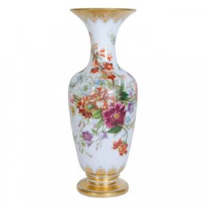 Painted opaline antique glass vase by Baccarat