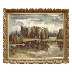 An Autumn Lake Scene, antique oil painting by Kalnrozes